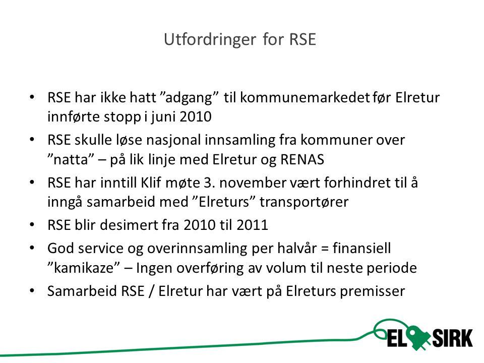 Utfordringer for RSE • RSE har ikke hatt adgang til kommunemarkedet før Elretur innførte stopp i juni 2010 • RSE skulle løse nasjonal innsamling fra kommuner over natta – på lik linje med Elretur og RENAS • RSE har inntill Klif møte 3.