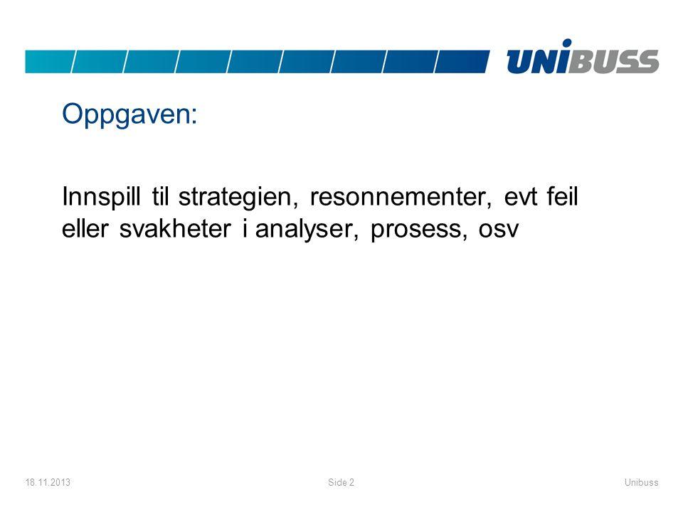 Oppgaven: Innspill til strategien, resonnementer, evt feil eller svakheter i analyser, prosess, osv 18.11.2013UnibussSide 2