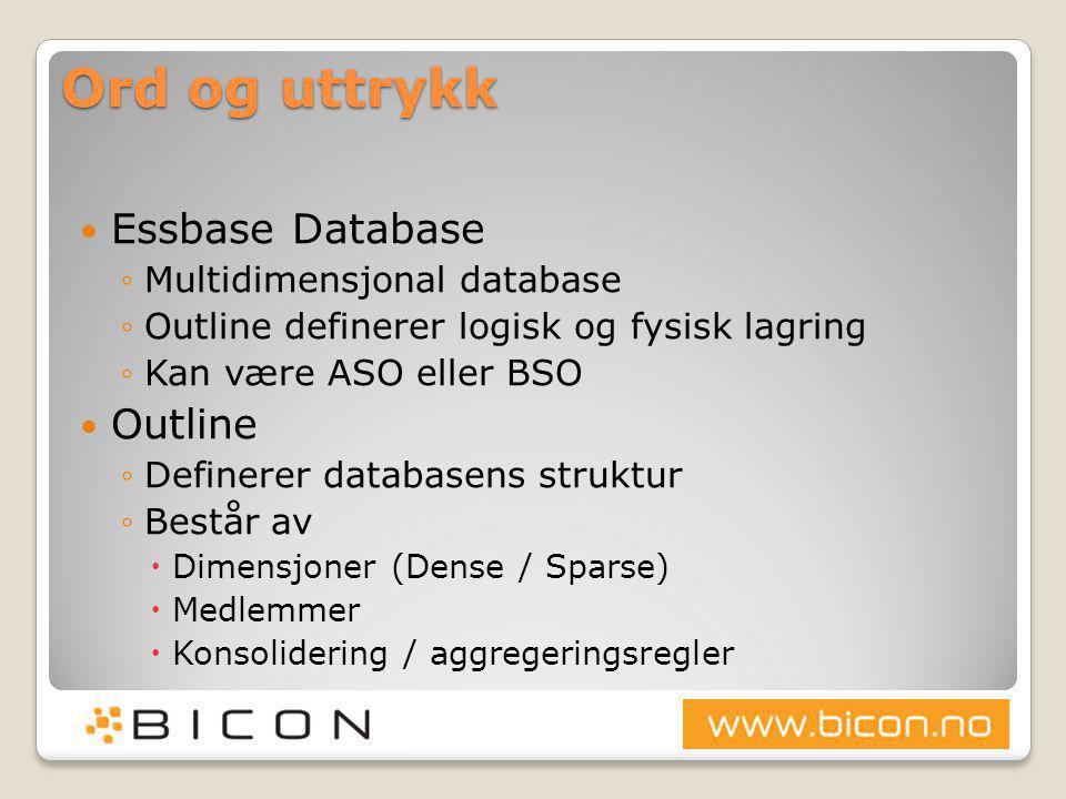 Ord og uttrykk  Essbase Database ◦Multidimensjonal database ◦Outline definerer logisk og fysisk lagring ◦Kan være ASO eller BSO  Outline ◦Definerer