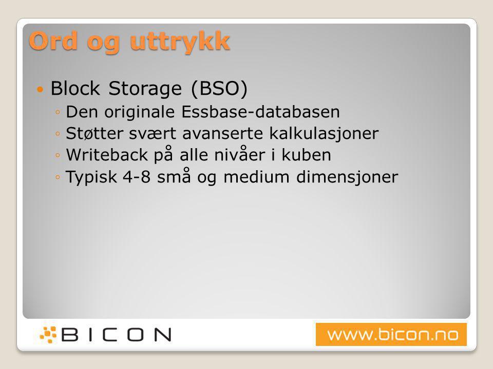 Ord og uttrykk  Block Storage (BSO) ◦Den originale Essbase-databasen ◦Støtter svært avanserte kalkulasjoner ◦Writeback på alle nivåer i kuben ◦Typisk