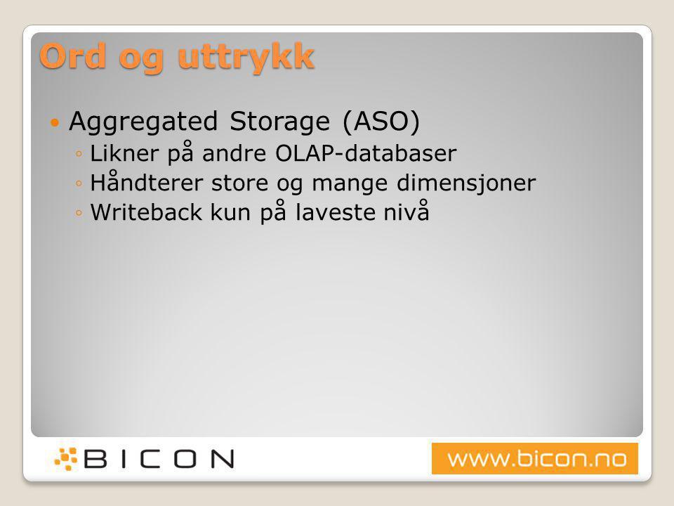 Ord og uttrykk  Aggregated Storage (ASO) ◦Likner på andre OLAP-databaser ◦Håndterer store og mange dimensjoner ◦Writeback kun på laveste nivå