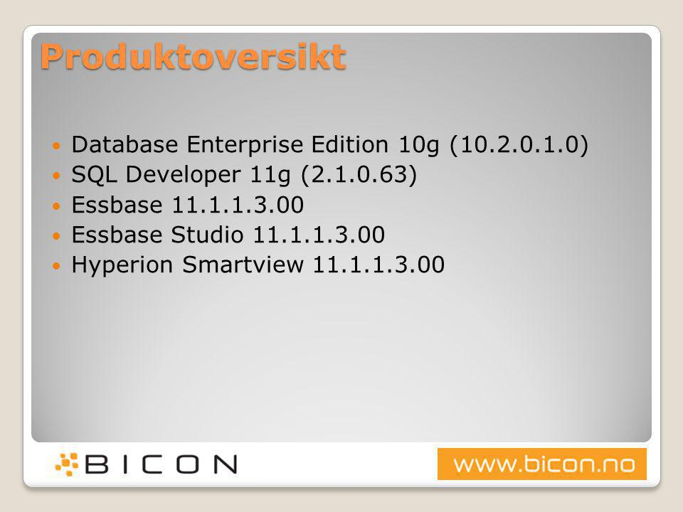 Produktoversikt  Database Enterprise Edition 10g (10.2.0.1.0)  SQL Developer 11g (2.1.0.63)  Essbase 11.1.1.3.00  Essbase Studio 11.1.1.3.00  Hyp
