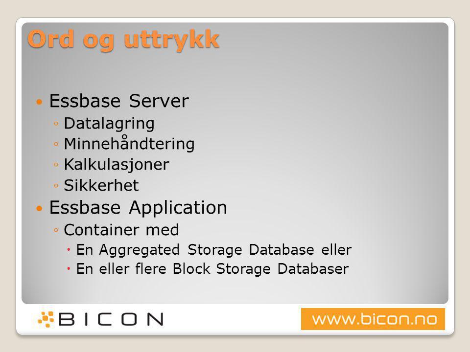 Ord og uttrykk  Essbase Database ◦Multidimensjonal database ◦Outline definerer logisk og fysisk lagring ◦Kan være ASO eller BSO  Outline ◦Definerer databasens struktur ◦Består av  Dimensjoner (Dense / Sparse)  Medlemmer  Konsolidering / aggregeringsregler