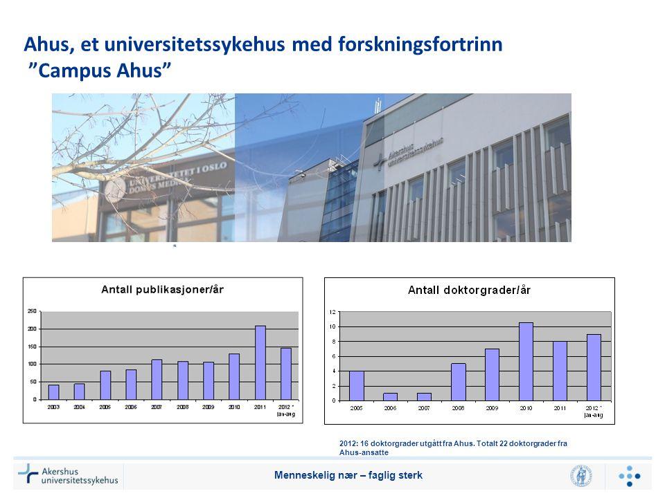 """Ahus, et universitetssykehus med forskningsfortrinn """"Campus Ahus"""" Menneskelig nær – faglig sterk * 2012: 16 doktorgrader utgått fra Ahus. Totalt 22 do"""