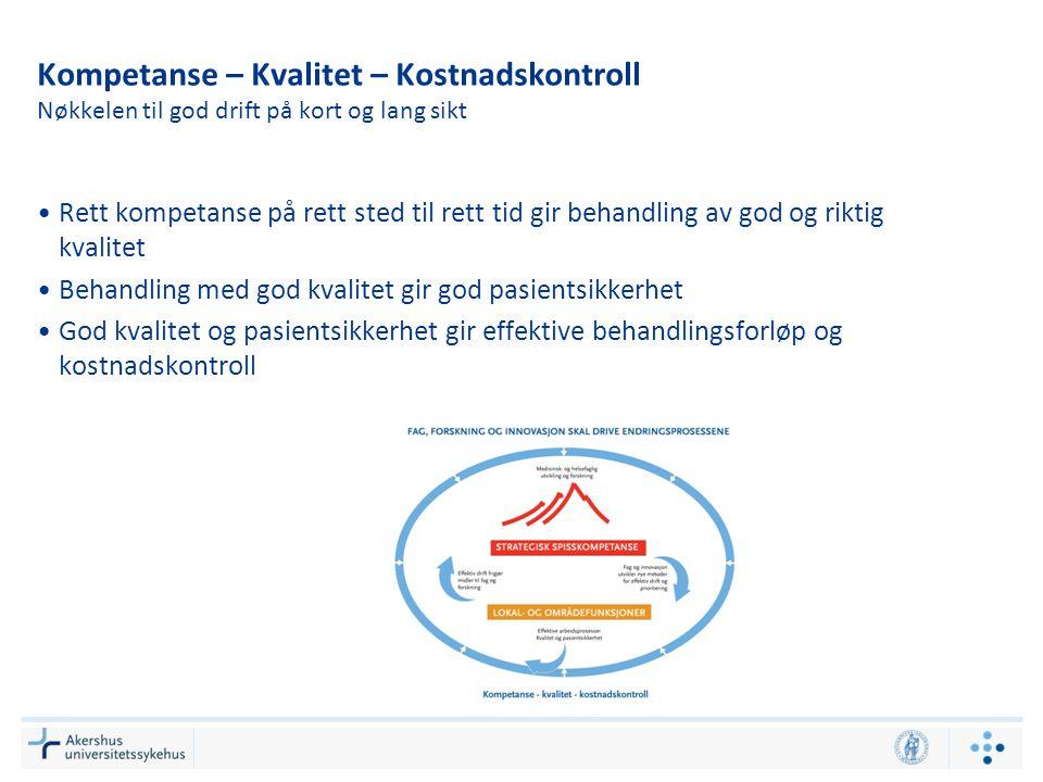 Kompetanse – Kvalitet – Kostnadskontroll Nøkkelen til god drift på kort og lang sikt •Rett kompetanse på rett sted til rett tid gir behandling av god
