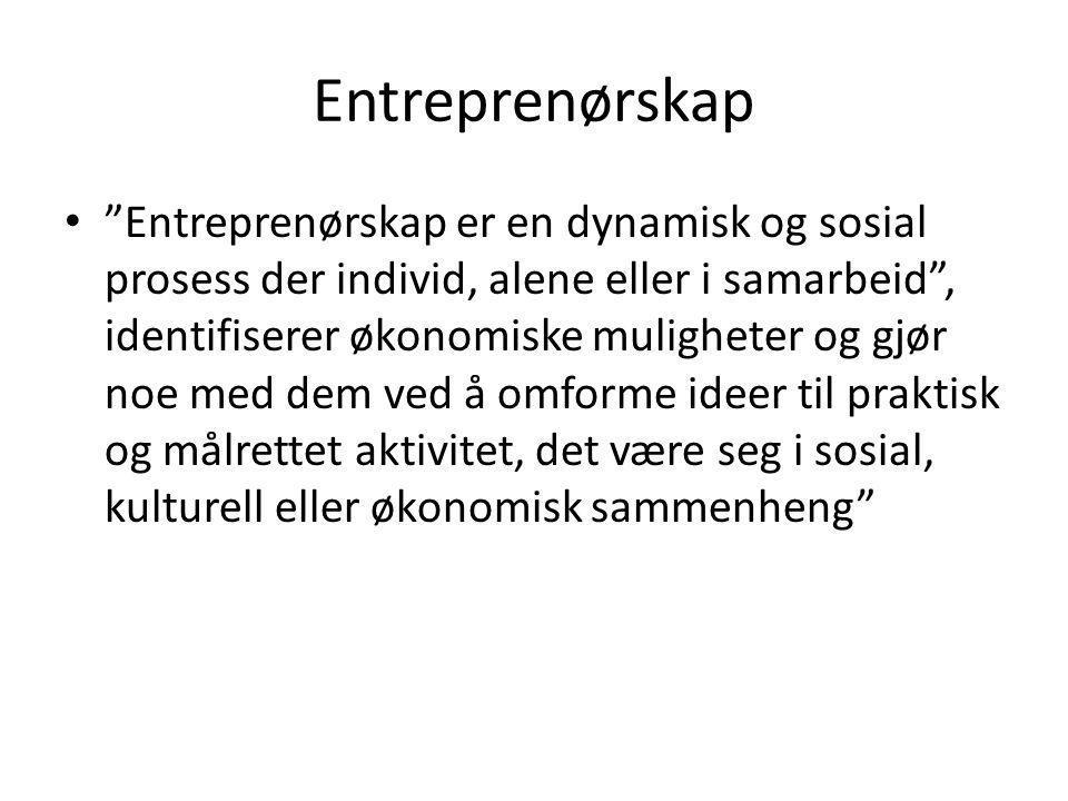 Entreprenørskap • Entreprenørskap er en dynamisk og sosial prosess der individ, alene eller i samarbeid , identifiserer økonomiske muligheter og gjør noe med dem ved å omforme ideer til praktisk og målrettet aktivitet, det være seg i sosial, kulturell eller økonomisk sammenheng