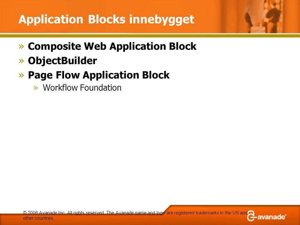 Application Blocks innebygget »Composite Web Application Block »ObjectBuilder »Page Flow Application Block »Workflow Foundation © 2006 Avanade Inc. Al
