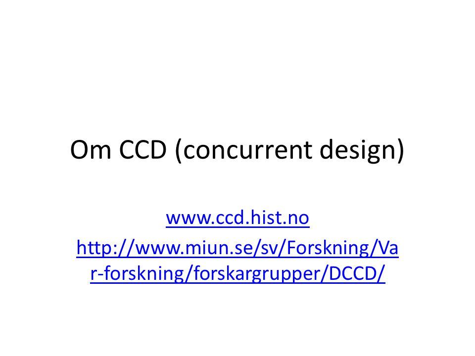 Om CCD (concurrent design) www.ccd.hist.no http://www.miun.se/sv/Forskning/Va r-forskning/forskargrupper/DCCD/
