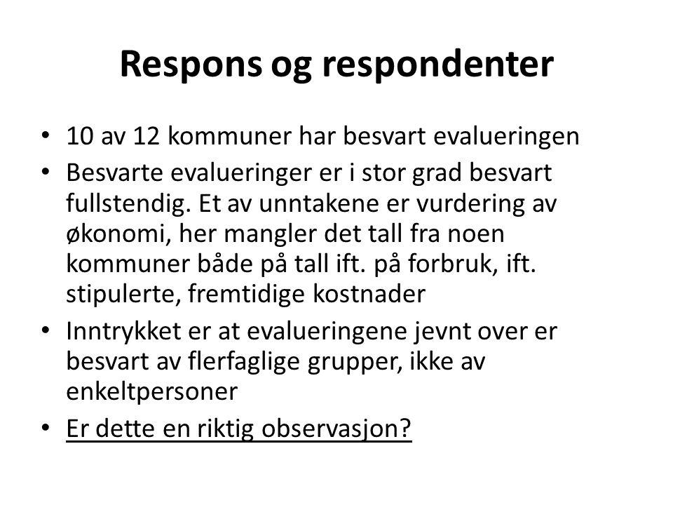 Respons og respondenter • 10 av 12 kommuner har besvart evalueringen • Besvarte evalueringer er i stor grad besvart fullstendig. Et av unntakene er vu