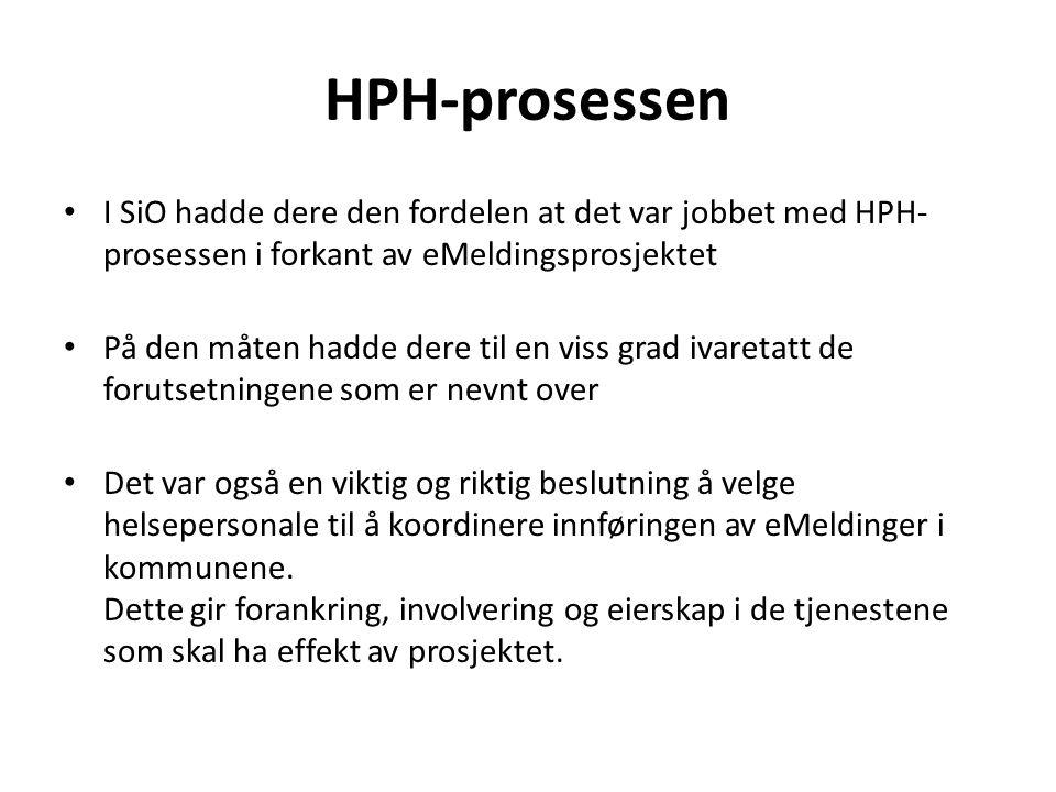 HPH-prosessen • I SiO hadde dere den fordelen at det var jobbet med HPH- prosessen i forkant av eMeldingsprosjektet • På den måten hadde dere til en v