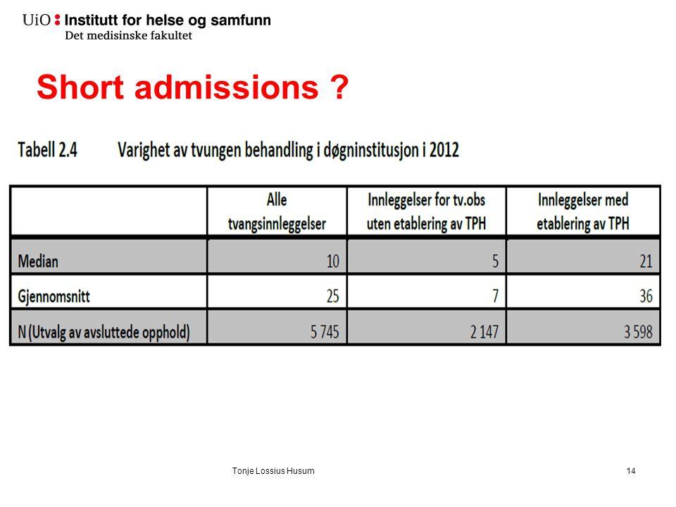 Short admissions ? Tonje Lossius Husum14