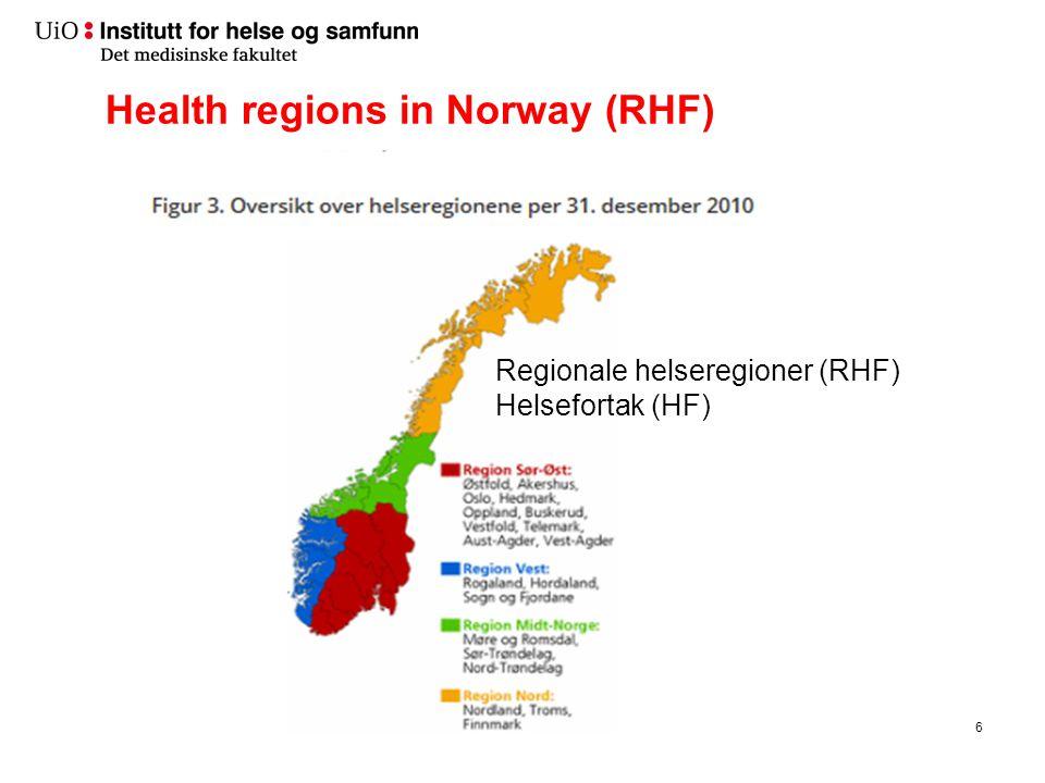 Health regions in Norway (RHF) 6 Regionale helseregioner (RHF) Helsefortak (HF)