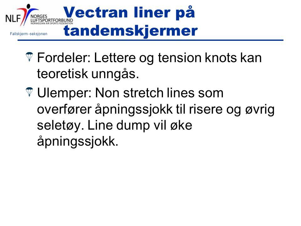 Fallskjerm -seksjonen Vectran liner på tandemskjermer Fordeler: Lettere og tension knots kan teoretisk unngås. Ulemper: Non stretch lines som overføre