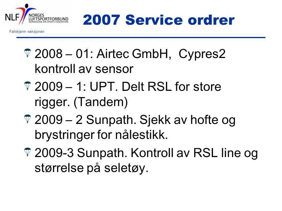 Fallskjerm -seksjonen 2007 Service ordrer 2008 – 01: Airtec GmbH, Cypres2 kontroll av sensor 2009 – 1: UPT. Delt RSL for store rigger. (Tandem) 2009 –