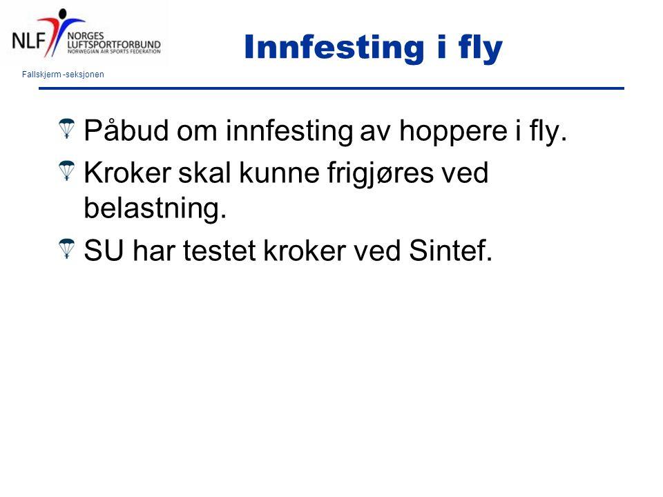 Fallskjerm -seksjonen Innfesting i fly Påbud om innfesting av hoppere i fly. Kroker skal kunne frigjøres ved belastning. SU har testet kroker ved Sint