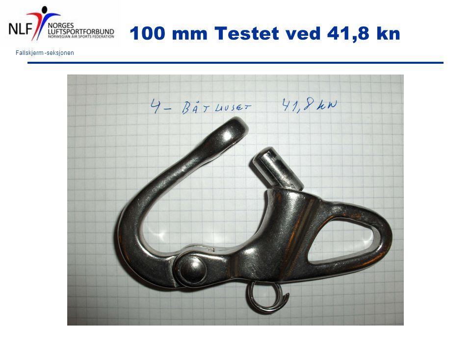 Fallskjerm -seksjonen 100 mm Testet ved 41,8 kn