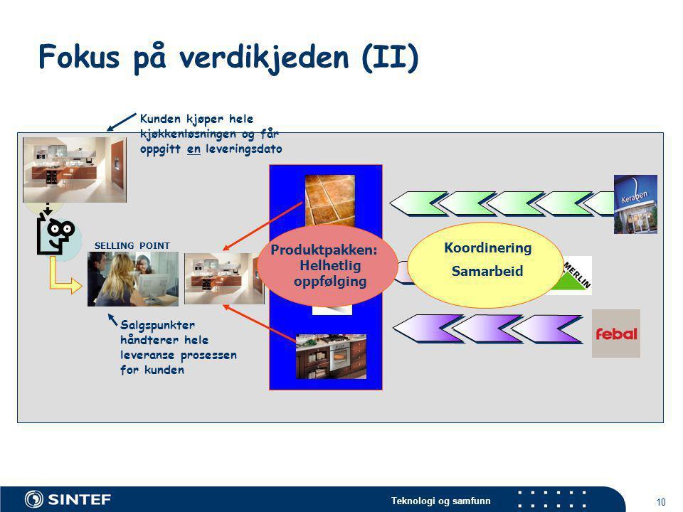 Teknologi og samfunn 10 Fokus på verdikjeden (II) SELLING POINT Kunden kjøper hele kjøkkenløsningen og får oppgitt en leveringsdato Salgspunkter håndt