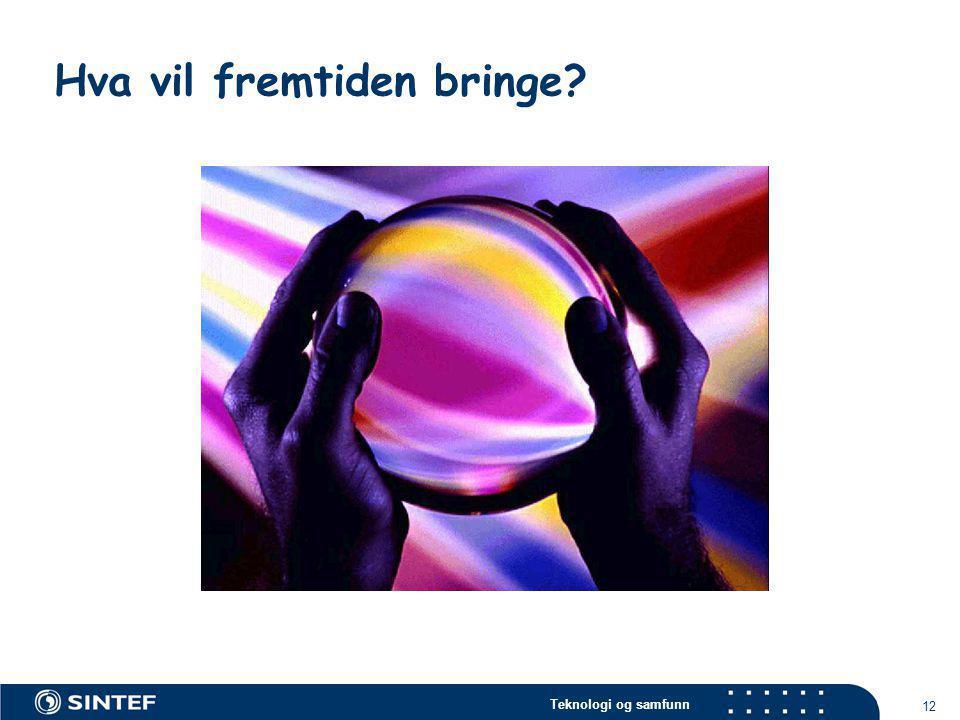 Teknologi og samfunn 12 Hva vil fremtiden bringe?