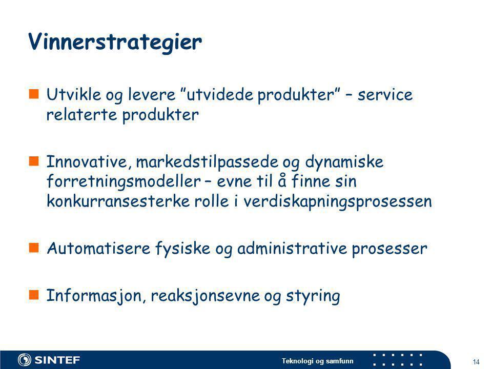 """Teknologi og samfunn 14 Vinnerstrategier  Utvikle og levere """"utvidede produkter"""" – service relaterte produkter  Innovative, markedstilpassede og dyn"""