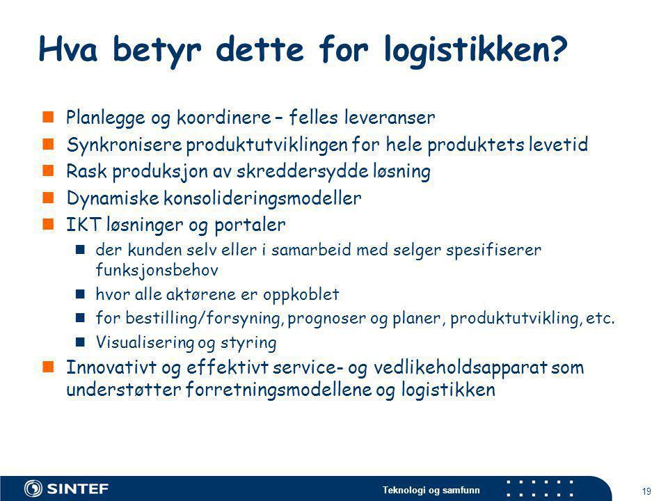 Teknologi og samfunn 19 Hva betyr dette for logistikken?  Planlegge og koordinere – felles leveranser  Synkronisere produktutviklingen for hele prod