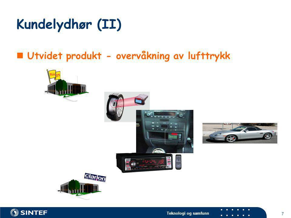 Teknologi og samfunn 7 Kundelydhør (II)  Utvidet produkt - overvåkning av lufttrykk