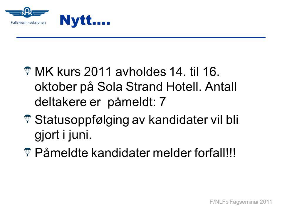 Fallskjerm -seksjonen F/NLFs Fagseminar 2011 Nytt….