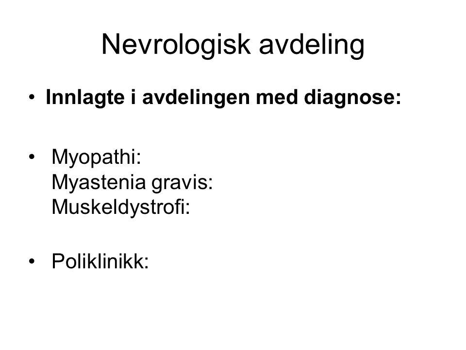 • Muskelpoliklinikk for pasienter med sammensatte problemstillinger, en gang pr måned.