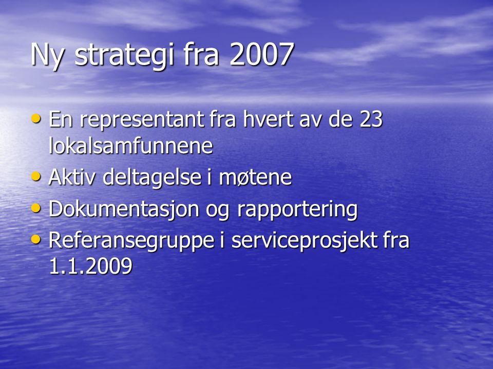 Ny strategi fra 2007 • En representant fra hvert av de 23 lokalsamfunnene • Aktiv deltagelse i møtene • Dokumentasjon og rapportering • Referansegruppe i serviceprosjekt fra 1.1.2009