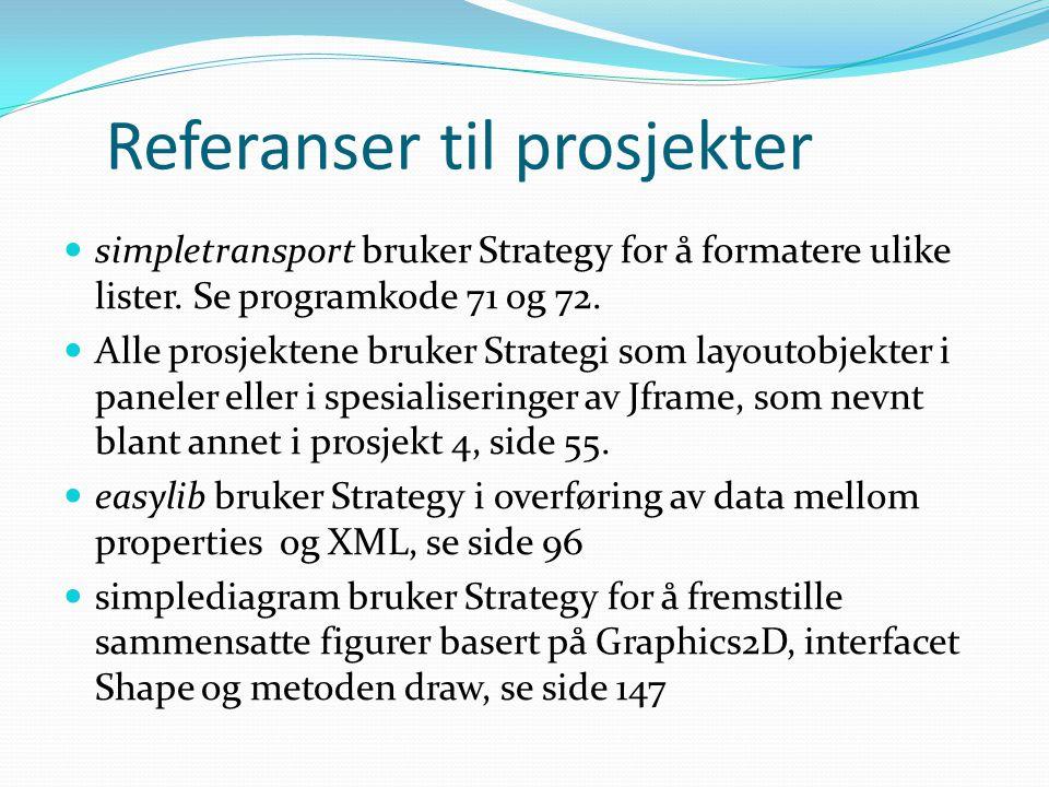Referanser til prosjekter  simpletransport bruker Strategy for å formatere ulike lister.