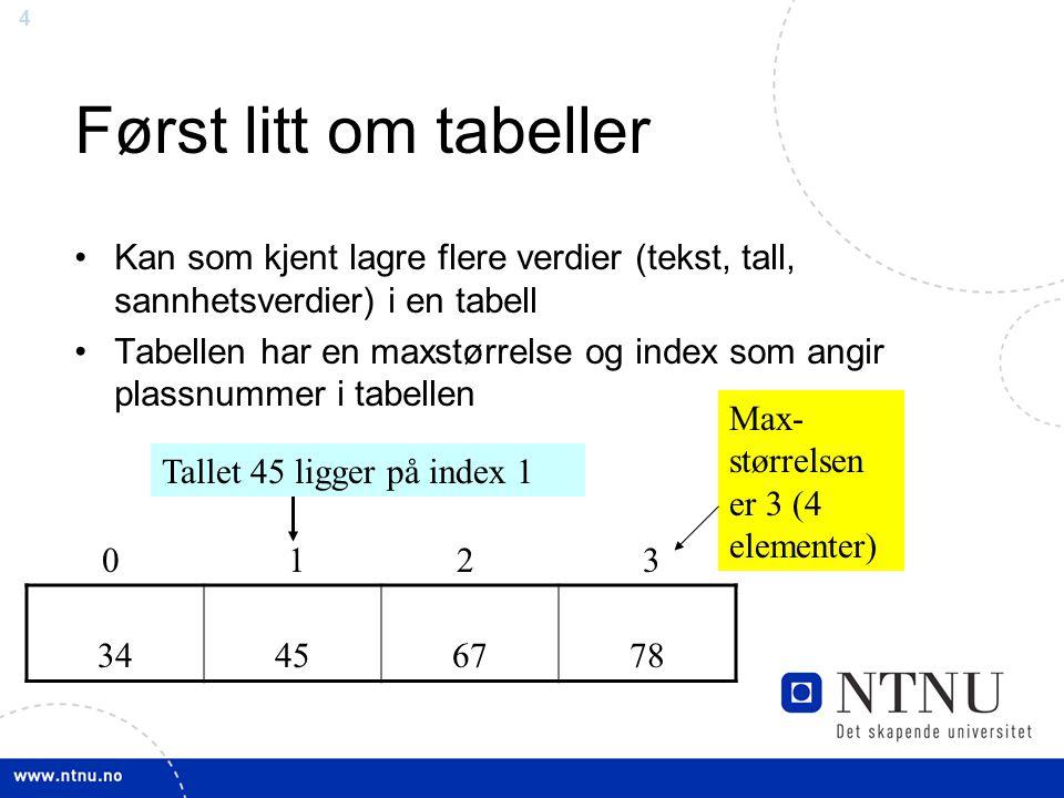 15 Oppgave •Gitt en tabell med 200 elementer.