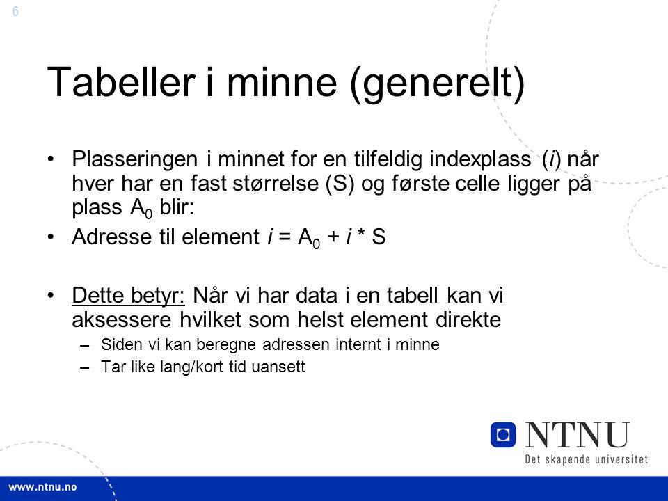 7 Enkel algoritme for søking (usortert liste) •Anta at følgende lag ligger etter hverandre i en tabellen lag[14]: –Vålerenga –Start –Tromsø –Lillestrøm –Viking –Brann –Odd Grenland –Rosenborg –...