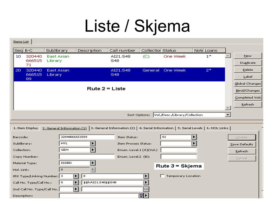 Liste / Skjema