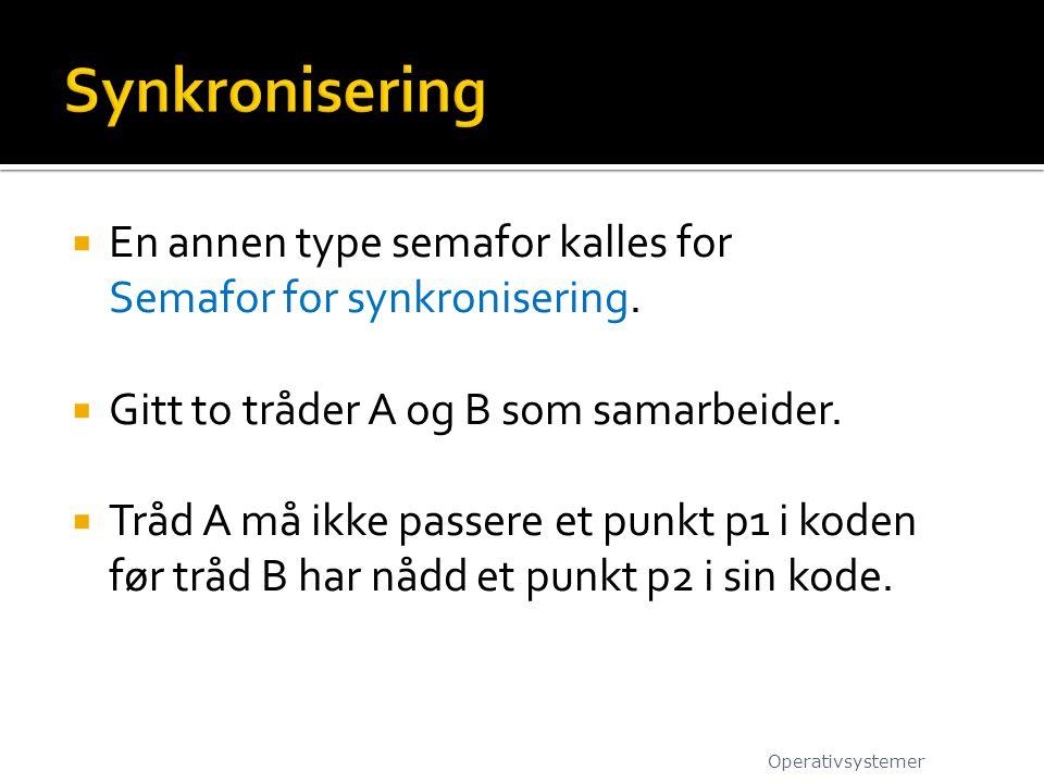  En annen type semafor kalles for Semafor for synkronisering.