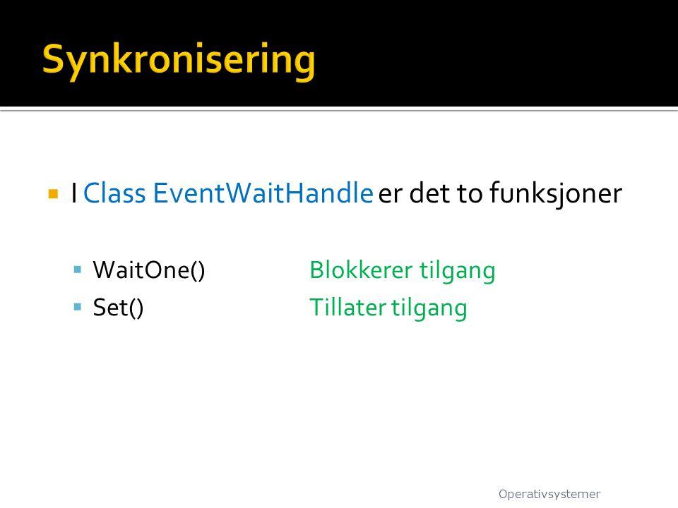  I Class EventWaitHandle er det to funksjoner  WaitOne()Blokkerer tilgang  Set()Tillater tilgang Operativsystemer
