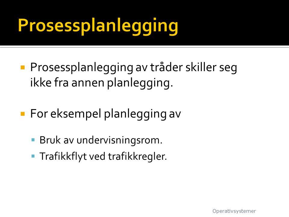  Prosessplanlegging av tråder skiller seg ikke fra annen planlegging.