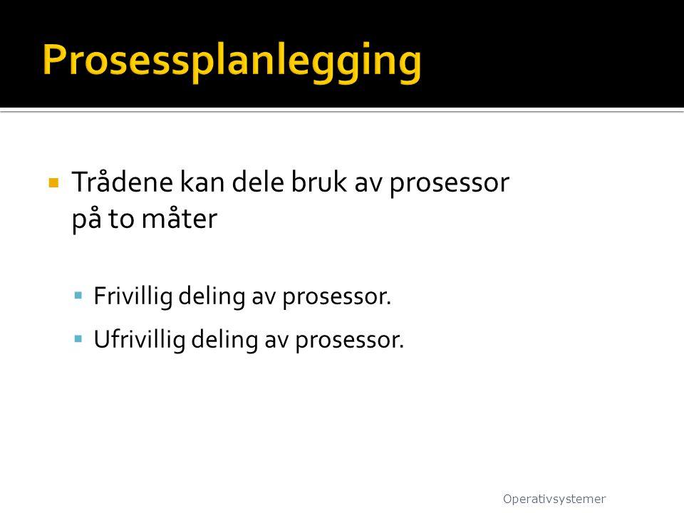  Trådene kan dele bruk av prosessor på to måter  Frivillig deling av prosessor.