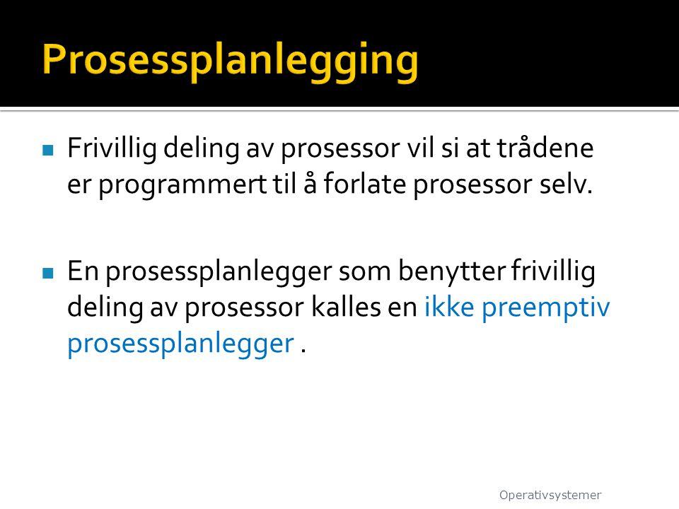 Frivillig deling av prosessor vil si at trådene er programmert til å forlate prosessor selv.