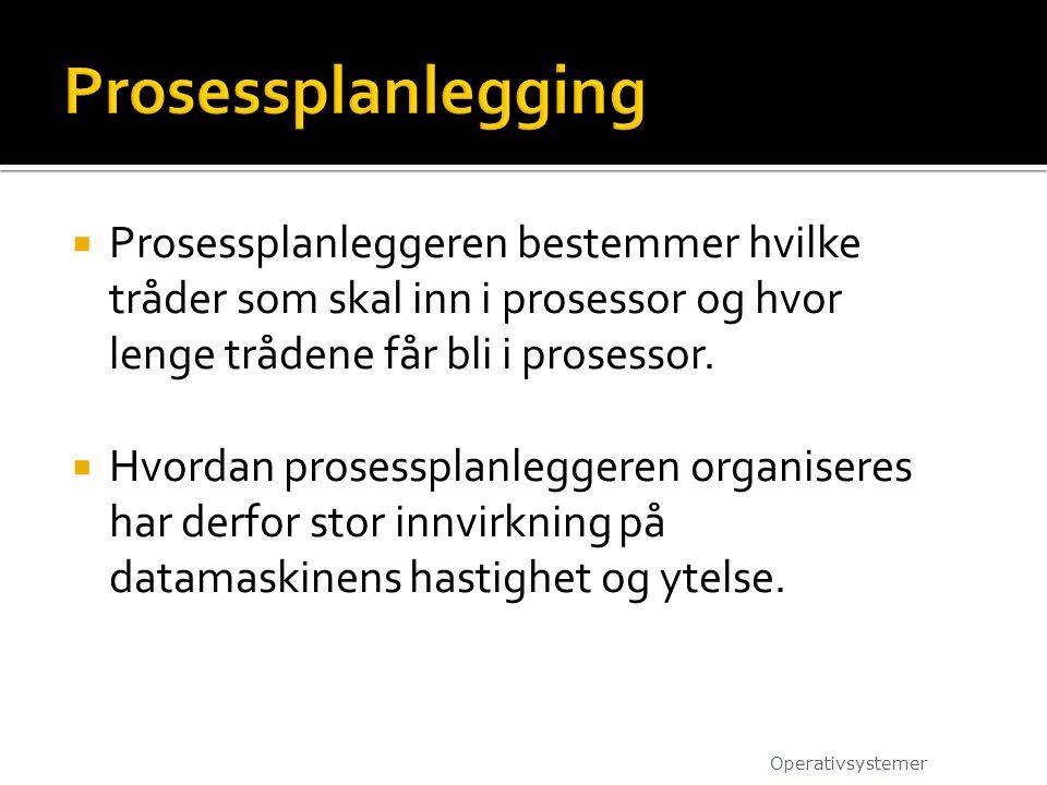  Prosessplanleggeren bestemmer hvilke tråder som skal inn i prosessor og hvor lenge trådene får bli i prosessor.