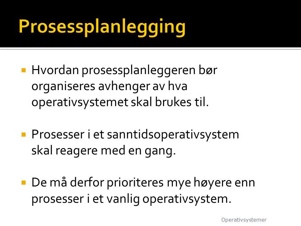  Hvordan prosessplanleggeren bør organiseres avhenger av hva operativsystemet skal brukes til.
