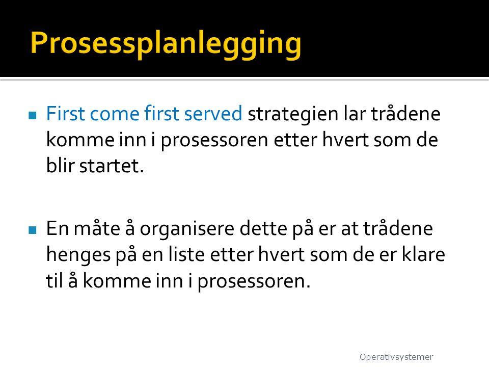  First come first served strategien lar trådene komme inn i prosessoren etter hvert som de blir startet.