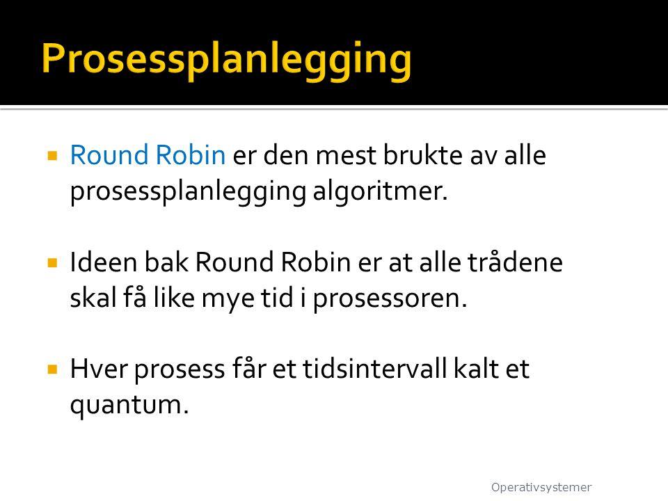 Round Robin er den mest brukte av alle prosessplanlegging algoritmer.