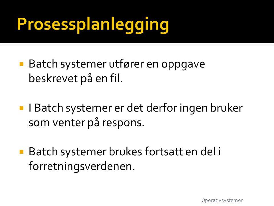  Batch systemer utfører en oppgave beskrevet på en fil.