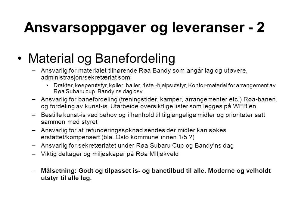 Ansvarsoppgaver og leveranser - 3 •Anlegg og Banemateriell –Ansvarlig for Røa-anlegget inkludert materiale med maskinpark samt drift og vedlikehold.