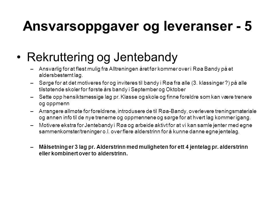 Ansvarsoppgaver og leveranser - 5 •Rekruttering og Jentebandy –Ansvarlig for at flest mulig fra Alltreningen året før kommer over i Røa Bandy på et aldersbestemt lag.