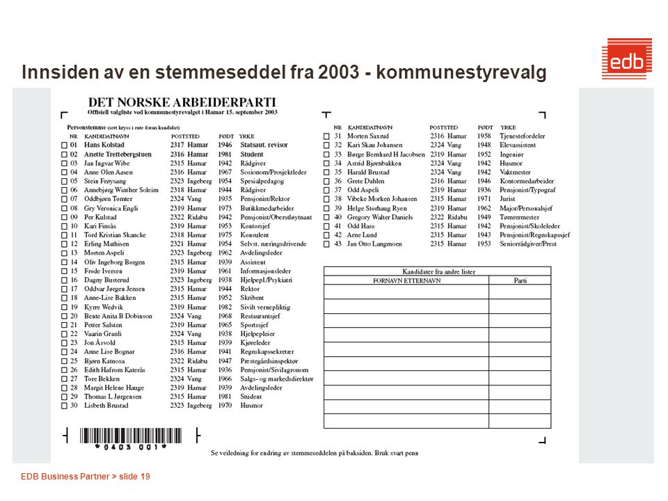 EDB Business Partner > slide 19 Innsiden av en stemmeseddel fra 2003 - kommunestyrevalg
