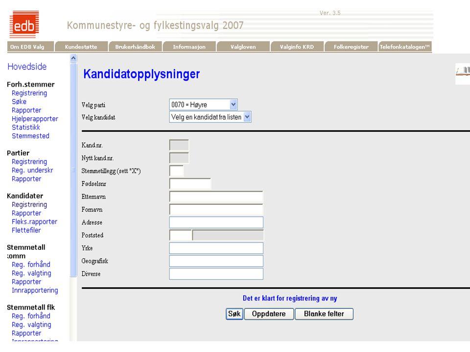 EDB Business Partner > slide 6 EDB Valg  Lister  Kandidater