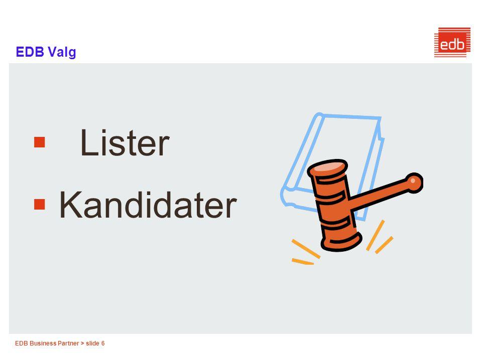 EDB Business Partner > slide 7 EDB Valg Overskrift på listeforslag  Listeforslaget skal ha en overskrift som viser hvilket parti eller hvilken gruppe forslaget utgår fra, og som ikke kan lede til forveksling, jf.