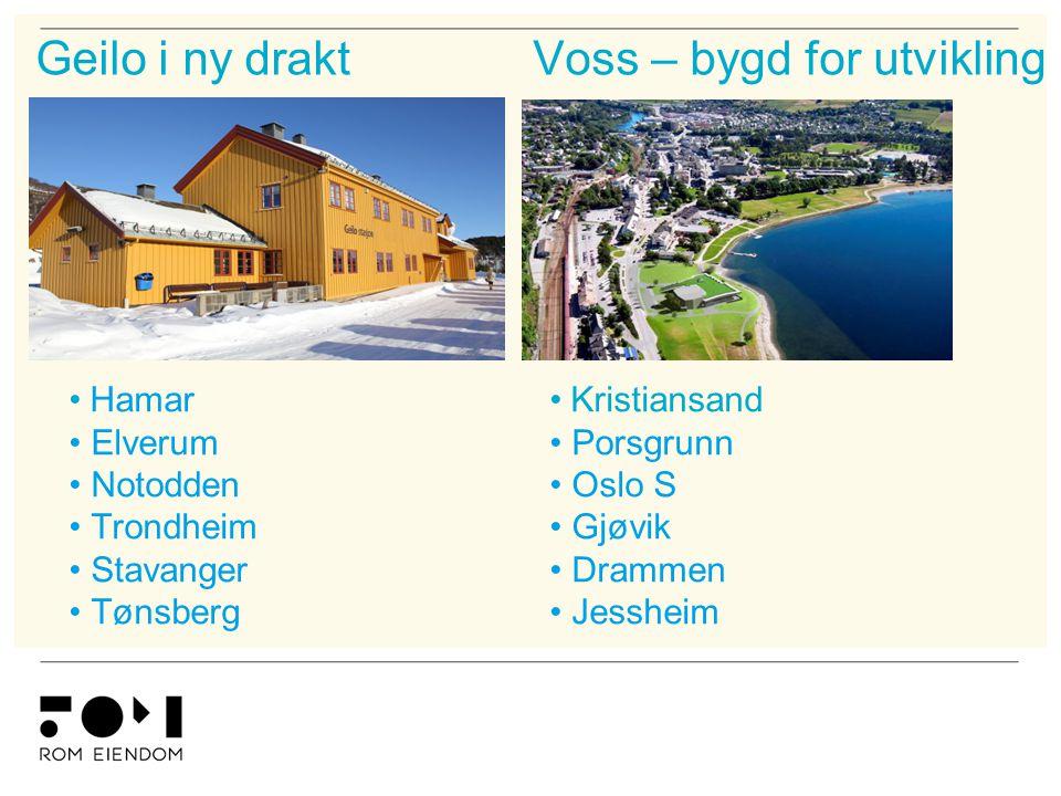 Voss – bygd for utviklingGeilo i ny drakt • Kristiansand • Porsgrunn • Oslo S • Gjøvik • Drammen • Jessheim • Hamar • Elverum • Notodden • Trondheim •