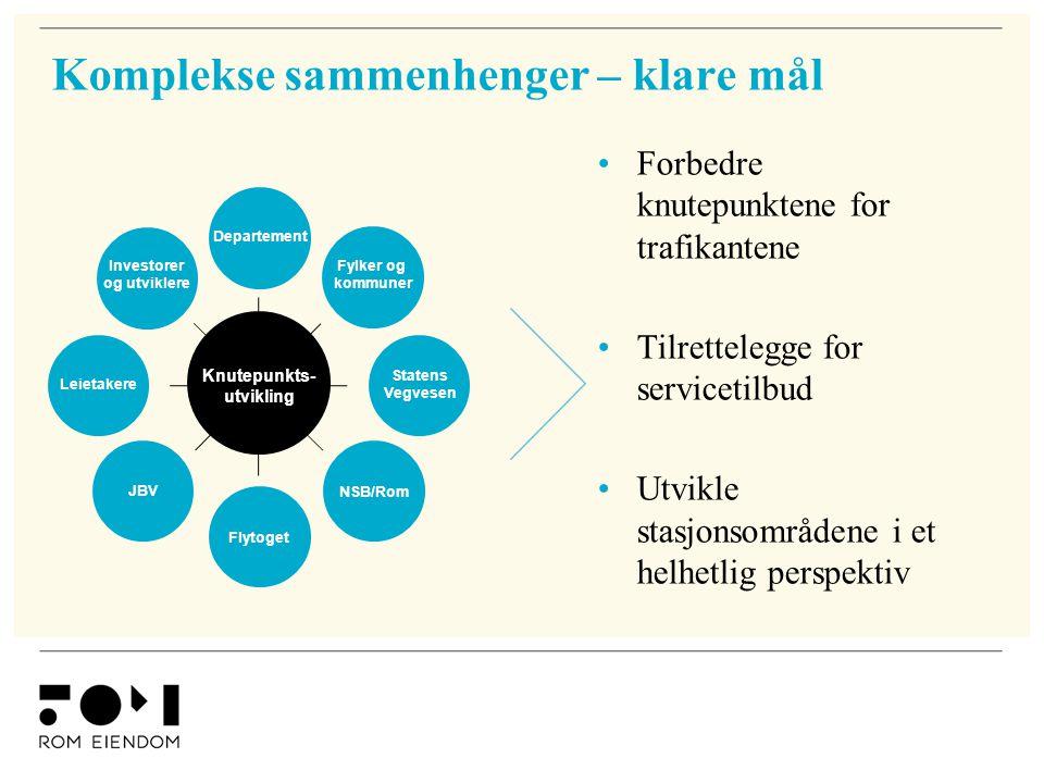 Komplekse sammenhenger – klare mål •Forbedre knutepunktene for trafikantene •Tilrettelegge for servicetilbud •Utvikle stasjonsområdene i et helhetlig