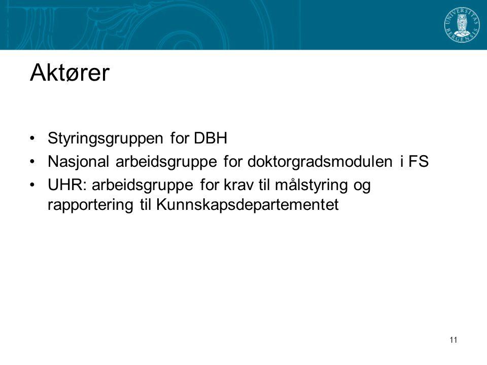 11 Aktører •Styringsgruppen for DBH •Nasjonal arbeidsgruppe for doktorgradsmodulen i FS •UHR: arbeidsgruppe for krav til målstyring og rapportering til Kunnskapsdepartementet
